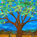 Rabbi Debra Kolodny | As the Spirit Moves Us. DIANE FREDGANT. TREE WITH BLUE BACKGROUND.